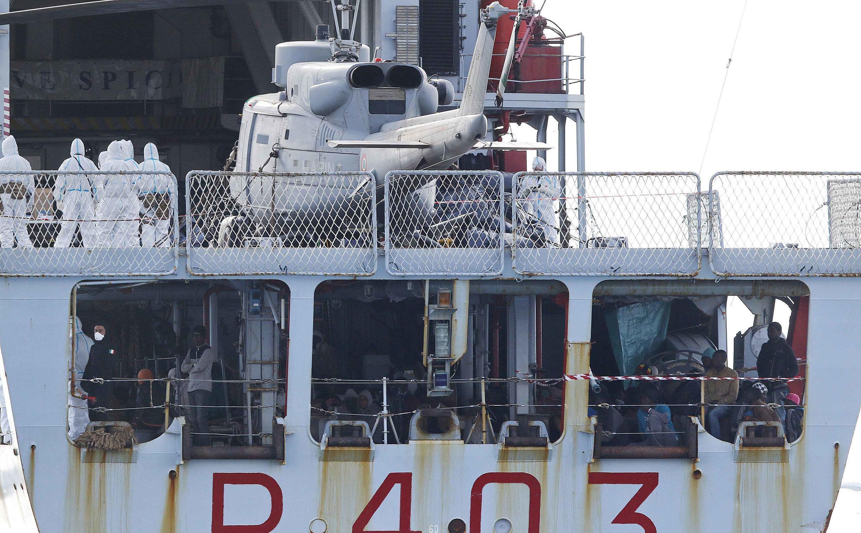 Migrants arrive in Sicily last week on an Italian patrol boat