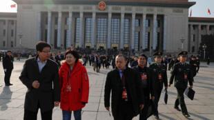 Các đại biểu Trung Quốc rời Đại Lễ Đường Nhân Dân, Bắc Kinh, ngày 02/03/2018