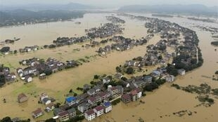圖為中國湖南衡東水災鳥瞰