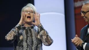 L'actrice américaine Meryl Streep, ici lors de l'ouverture de la 66e Berlinale, est l'un des soutiens de Hillary Clinton.