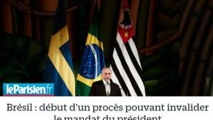 O jornal Le Parisien anuncia nesta terça-feira (4) o início do julgamento no Tribunal Superior Eleitoral (TSE).