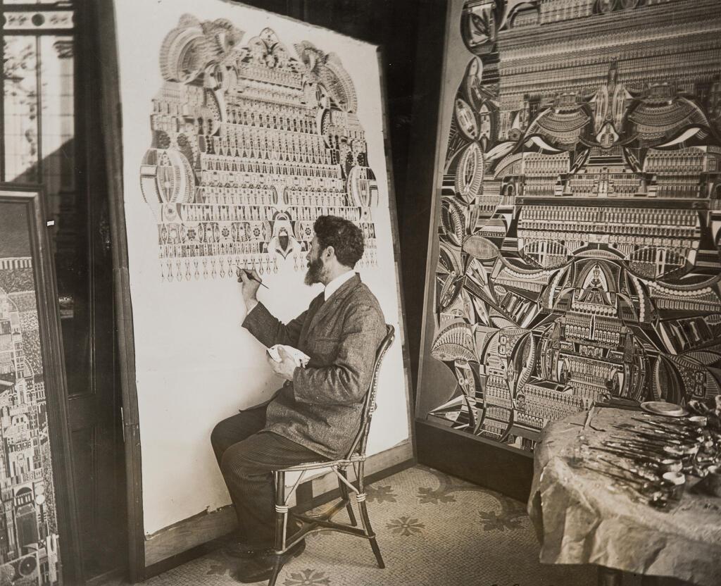Pintura Lesage em público no Instituto Internacional de Metapsicologia, 6 de abril-21 de maio de 1927