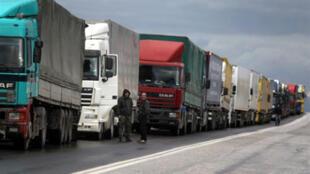 Trucks at Promahonas, Greek-Bulgarian border