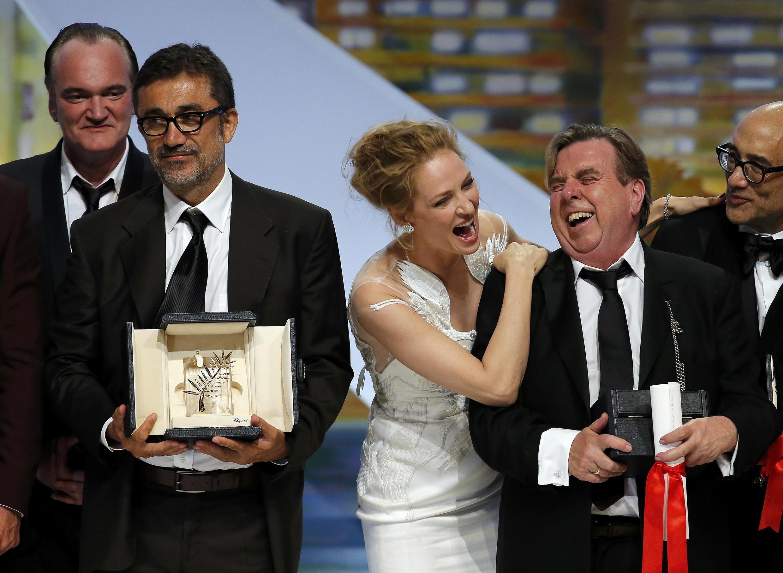 Quentin Tarantino, o diretor turco Nuri Bilge Ceylan, Uma Thurman e o ator Timothy Spall