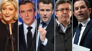 Пять главных кандидатов в президенты Франции: Марин Ле Пен, Франсуа Фийон, Эмманюэль Макрон, Жан-Люк Меланшон и Бенуа Амон