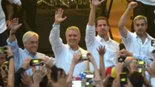 """瓜伊多與智利、哥倫比亞、巴拉圭總統出席""""委內瑞拉拯救生命""""演唱會資料圖片"""