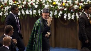 Le président afghan Hamid Karzaï lors d'une Loya Jirga en 2011 à Kaboul.