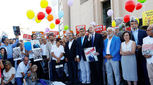 A demonstration in Istanbul in solidarity with employees of the  Cumhuriyet newspaper accused of supporting a terrorist group
