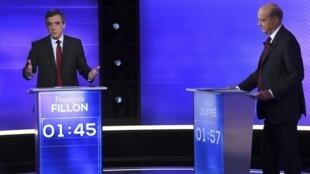 Lors du second débat entre Alain Juppé et François Fillon, le 24 novembre 2016.