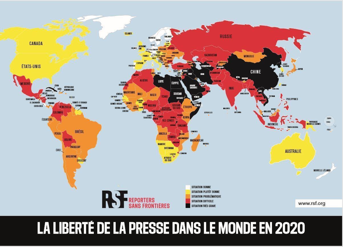 «Репортеры без границ» опубликовали ежегодный рейтинг свободы СМИ.