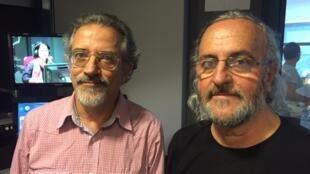 Santiago (esq) e Byrata (dir.) divulgam o desenho gaúcho na França.