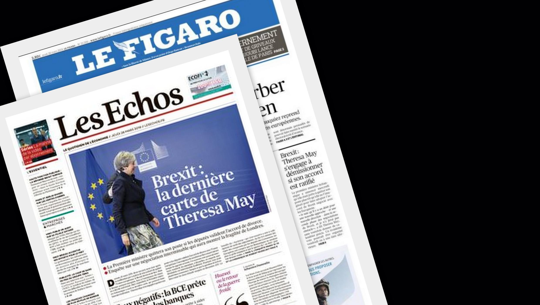 a última cartada de Theresa May para evitar um Brexit desastroso para o Reino Unido é uma dasprincipais manchetes dos jornais franceses Les Echos e Le Figaro desta quinta-feira (28).