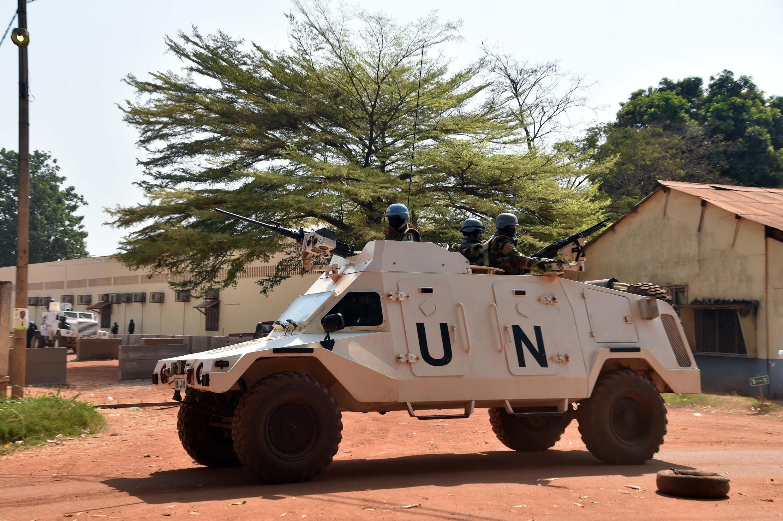 Une patrouille de la Minusca à Bangui, janvier 2016.