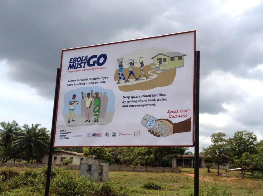 Campagne d'affichage intitulée «Ebola doit partir», dans les rues de Monrovia, Liberia.