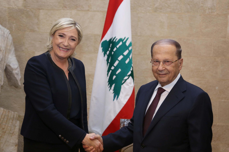 Марин Ле Пен и президент Ливана Мишель Аун