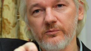 Julian Assange lors d'une conférence de presse depuis l'ambassade d'Equateur à Londres, le 18 août 2014.