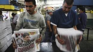 Un diario de Ciudad Juárez anuncia en primera plana la captura del narcotraficante, el 22 de febrero de 2014.