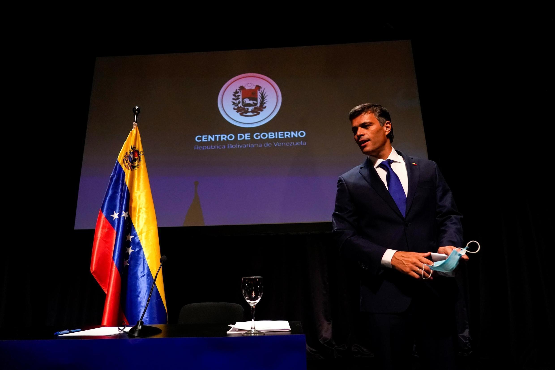 L'opposant vénézuélien Leopoldo Lopez lors de sa conférence de presse à Madrid, le 27 octobre 2020.