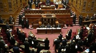 French senators vote at the upper house of Parliament on the 'stripping' of nationality measures, 22 March.