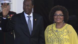 Chantal et Blaise Compaoré, à la Maison Blanche de Washington en août 2014.