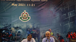 Yahya Sinwar, leader of the Palestinian Hamas movement's political wing, addresses a news conference in Gaza City