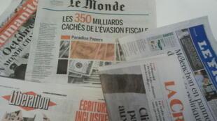 Primeiras páginas dos jornais franceses de 6 de novembro de 2017