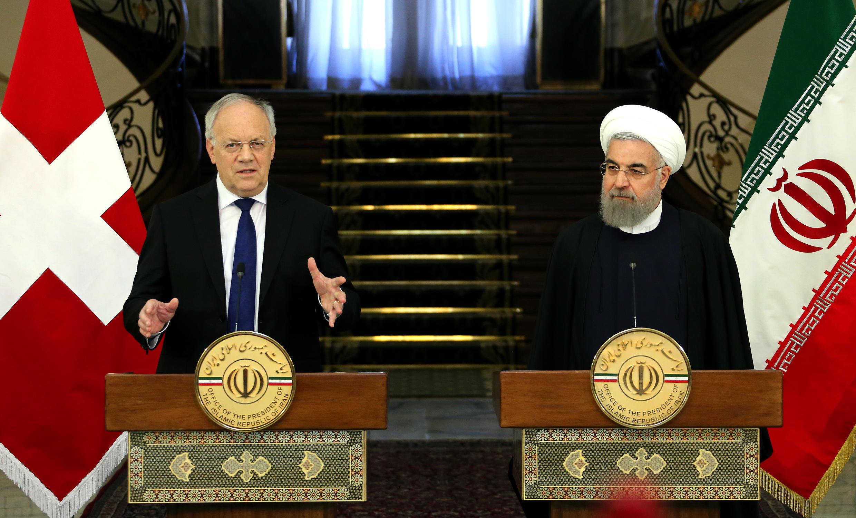 کنفرانس خبری مشترک رؤسای جمهوری ایران و سوئیس در تهران