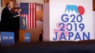 特朗普在大阪的新闻发布会上 2019年6月29日