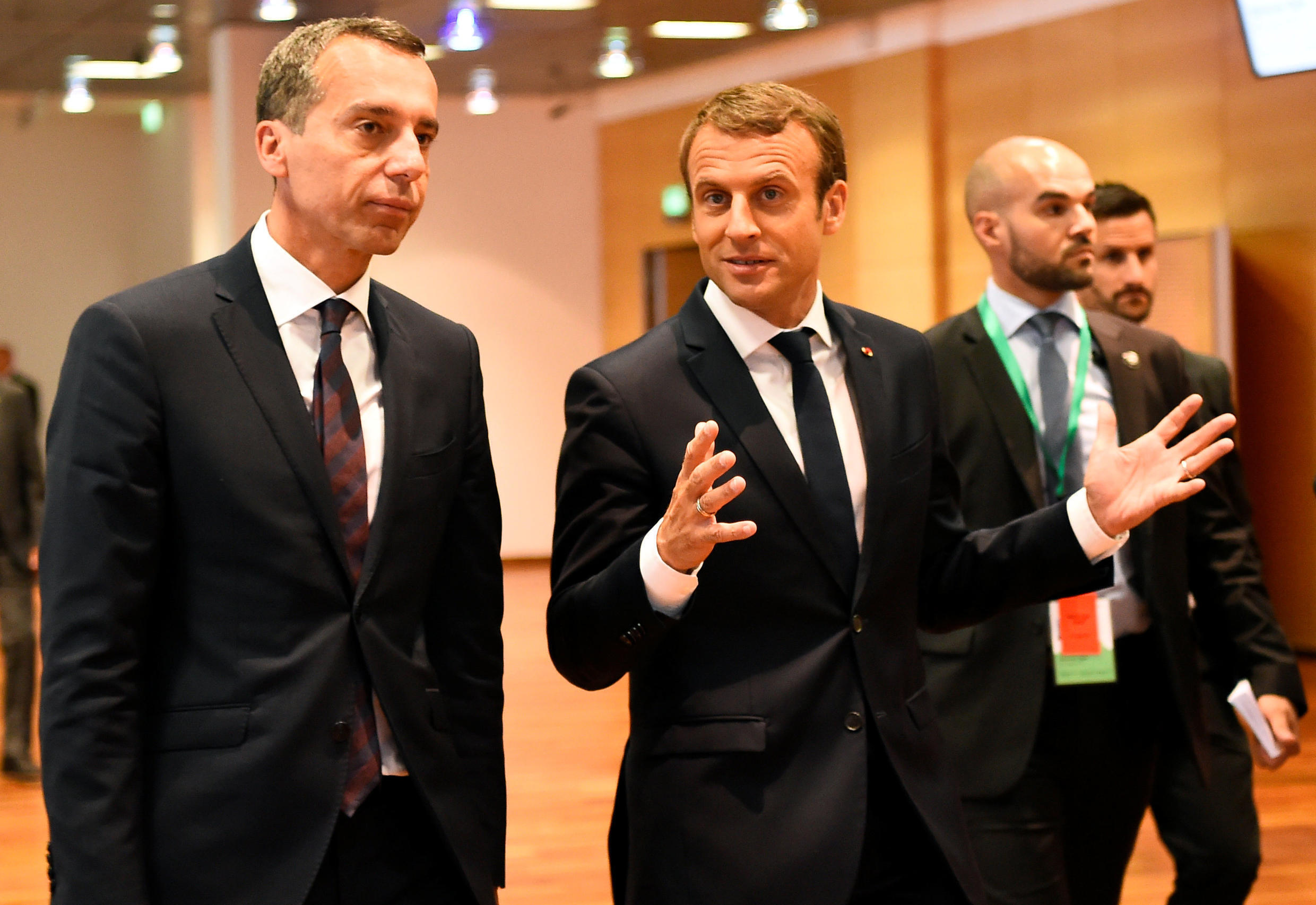 French President Emmanuel Macron tours Austria, where he was to meet Slovak and Czech leaders, 23 August 2017.