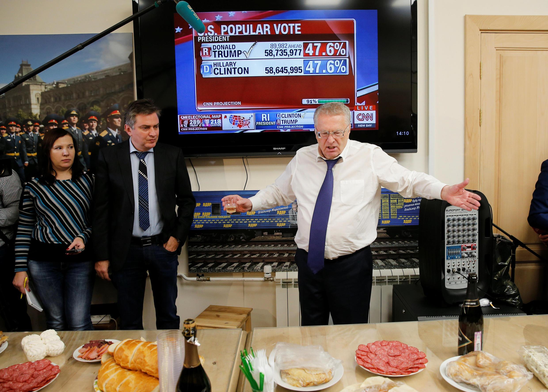 Лидер ЛДПР устроил в Госдуме банкет в честь победы Дональда Трампа на выборах в США. 9 ноября 2016