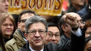 """French far-left presidential candidate Jean-Luc Mélenchon at his """"March for the sixth republic"""" in Paris on March 18, 2017."""