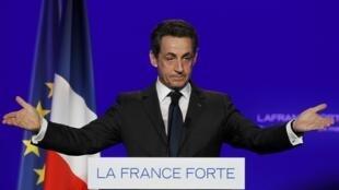 El presidente francés Nicolas Sarkozy en Rueil-Malmaison, cerca de París, el 24 de marzo de 2012.