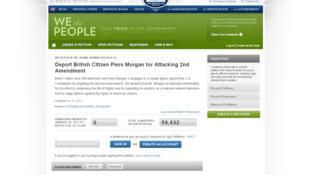 Capture d'écran du site de la Maison Blanche présentant la pétition à l'encontre de Piers Morgan, le 25 décembre 2012.