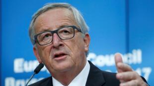 Chủ tịch Ủy Ban Châu Âu Jean-Claude Juncker, trong cuộc họp báo tại Bruxelles, ngày 20/10/2017
