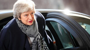 British Prime Minister Theresa May arrives for a meeting with German Chancellor Angela Merkel, at the chancellery in Berlin on April 9, 2019