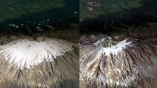 Em 12 anos, o monte Kilimanjaro, ponto mais alto da África, perdeu grande parte de sua calota de gelo por causa do aquecimento global.