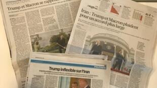 Jornais de 25 de abril de 2018 falam sobre a diferença entre as imagens e a tentativa de Trump e Macron de afinarem o discurso nos bastidores.