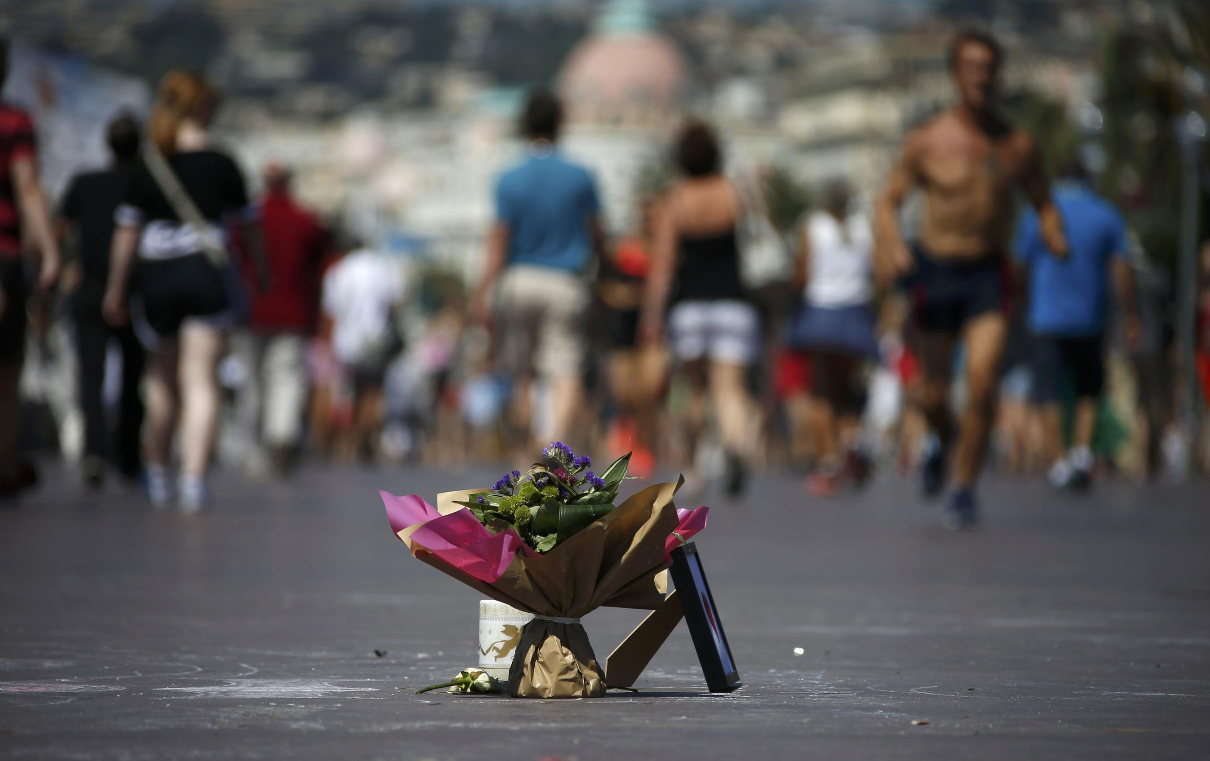 A bouquet on Nice's Promenade des Anglais in homage to the victims of the Bastille Day attack