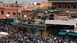 Uma violenta explosão em um café de Marrakech deixou 15 mortos e 20 feridos
