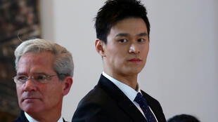 孫楊和律師2019年11月15日在瑞士國際體育仲裁法庭出庭