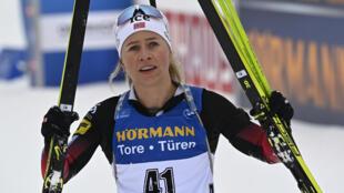 La Norvégienne Tiril Eckhoff victorieuse du sprint 7,5 km d'Oberhof, en Allemagne, le 14 janvier 2021