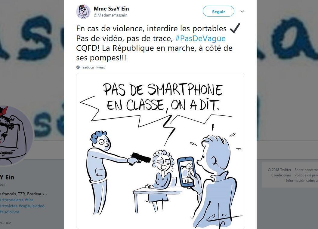 Dibujo en Twitter: 'Ningún teléfono en clase, dijimos!'