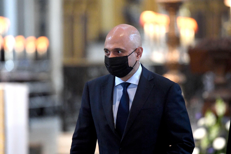 Image RFI Archive / Testé positif, le secrétaire britannique à la Santé, Sajid Javid doit s'isoler. Ici, Sajid Javid portant un masque de protection contre le coronavirus. Photo prise le 5 juillet 2021 à Londres.