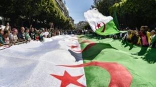 Wasu 'yan Algeria yayin zanga-zanga dauke da tutar kasar a birnin Algiers. 31/5/2019.