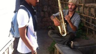 Two members of hip hop group Basy Gasy in Antananarivo