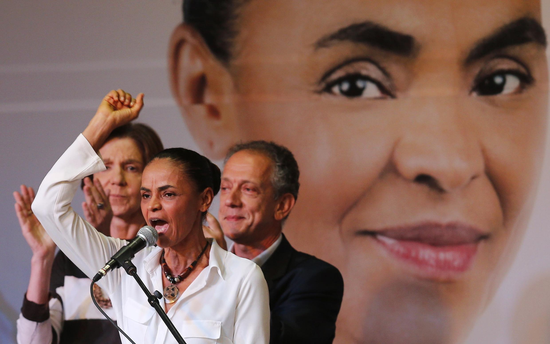A candidata do PSB à presidência do Brasil, Marina Silva, durante o lançamento de uma plataforma de campanha, em 29 de agosto.