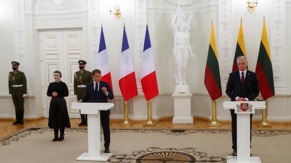 Conférence de presse commune entre Emmanuel Macron et le président lituanien Gitanas Nauseda.