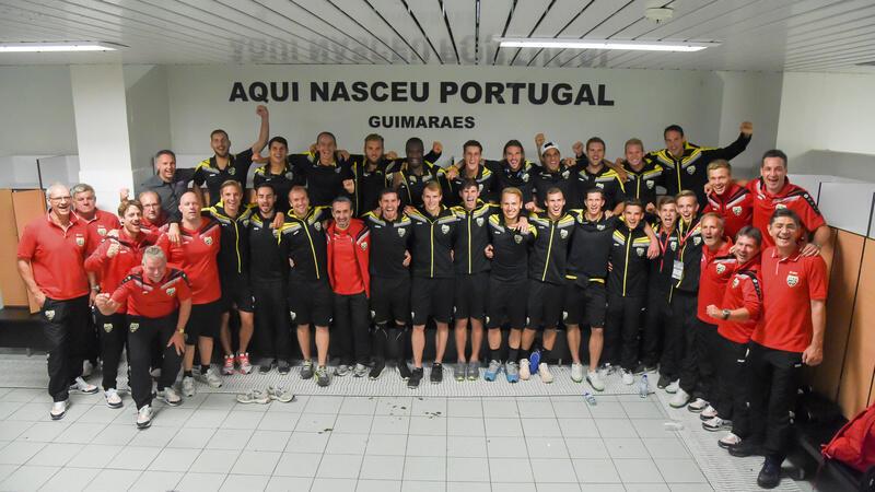 A equipa austríaca do Altach nos balneários do estádio D.Afonso Henriques em Guimarães.