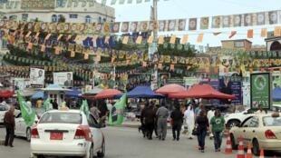 L'Irak est littéralement couvert de posters colorés. Photo : à Souleimaniye, dans le Kurdistan irakien, le 28 avril 2014.