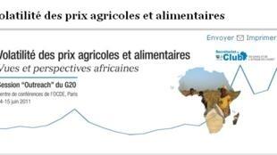 Affiche de la réunion du club du Sahel et de l'Afrique de l'Ouest sur la volatilité des prix agricoles et alimentaires.